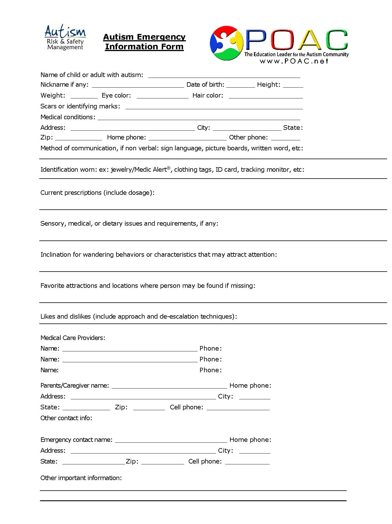 Autism Emergency Information Form