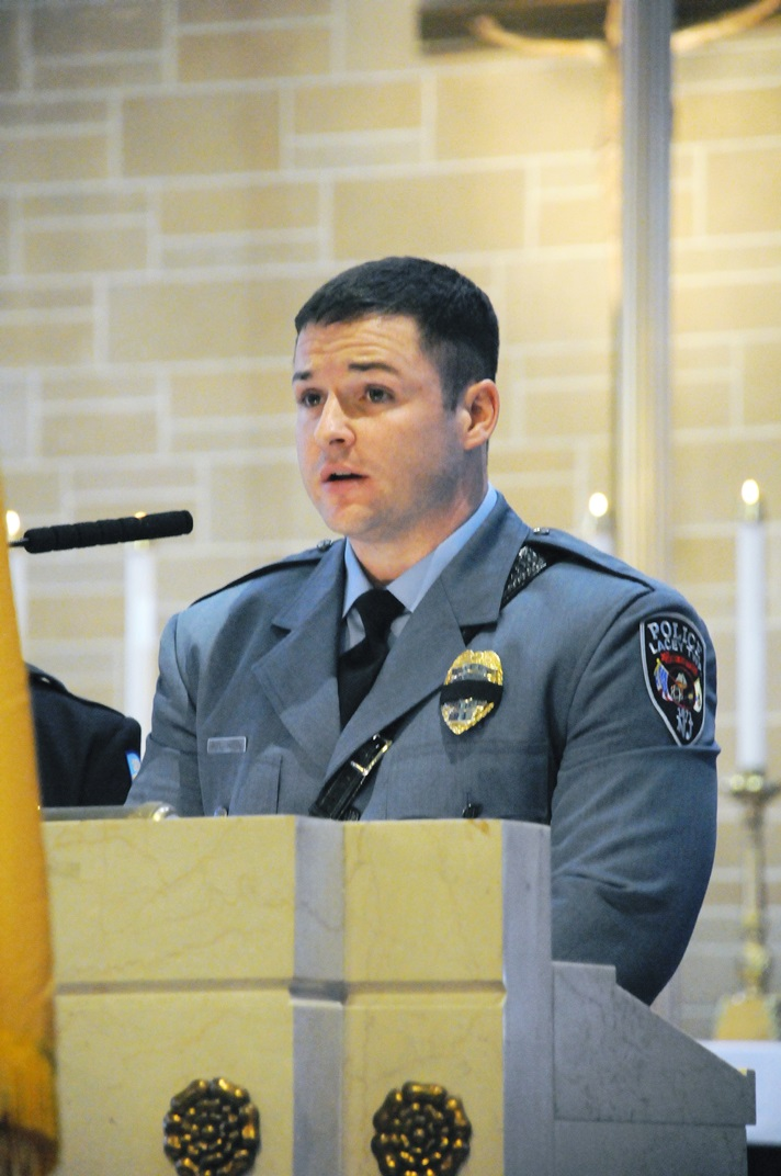 Officer Michael Hein at the Blue Mass in Trenton