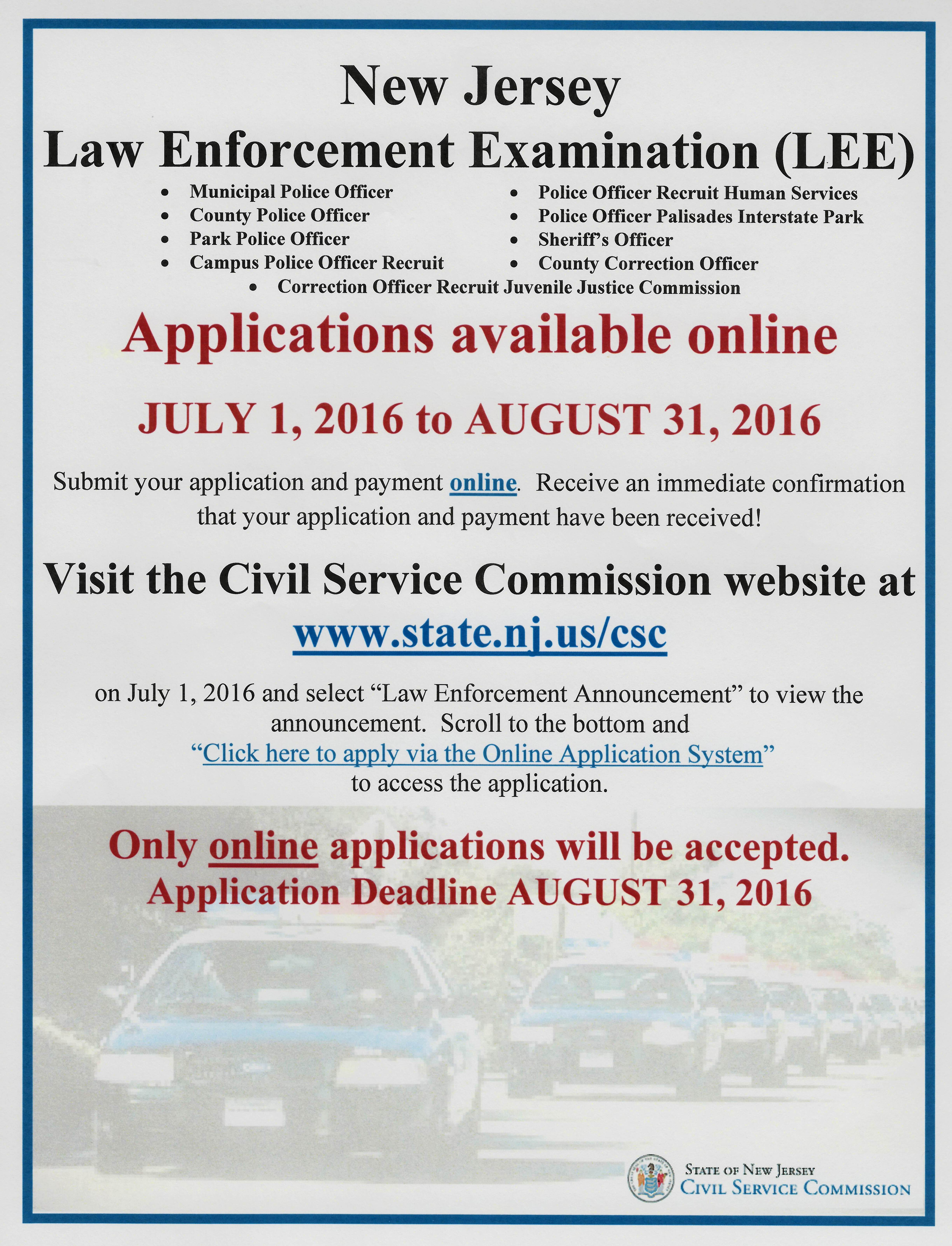Police Officer – Regular, full-time police officer positions are hired from  the New Jersey Civil Service Commission (NJCSC) list.